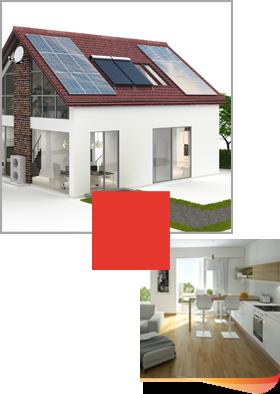 maison panneaux solaires et salon lumineux