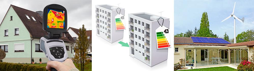 caméra thermique, immeuble basse consommation, maison panneaux solaires et éolienne